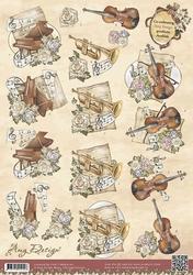3D Knipvel Amy Design CD10395 Vintage Instrumenten