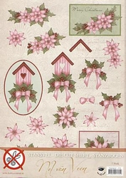 A4 Stansvel Nel van Veen 2356 Roze bloem & vogelhuisje