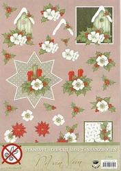 A4 Stansvel Nel van Veen 2355 Rode/witte bloemen & kaars