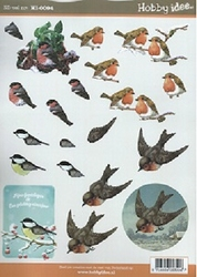 A4 Knipvel Hobbyidee hi0094 Vogels roodborstje