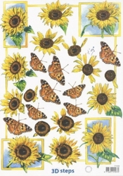 A4 Knipvel Marianne Design Shake it 408 Zonnebloeme/vlinders