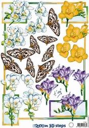 A4 Knipvel Marianne Design Shake it 461 Fresia's met vlinder