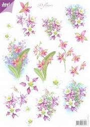 A4 Knipvel Joy 3D Flowers 6010/0007 Paarse bloemen
