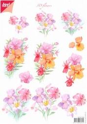 A4 knipvel Joy 3D Flowers 6010/0008 Roze bloemen
