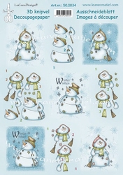 LeCreaDesign A4 Knipvel 50.0034 Snowman Winter wishes