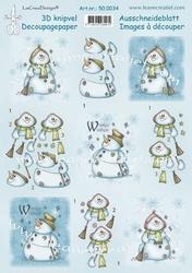 LeCreaDesign A4 Knipvel 50.0034 Snowman Winter wishes
