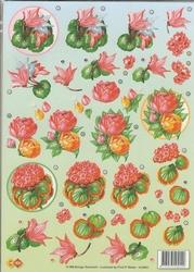 A4 Knipvel Carddeco HJ5601 Rode bloemen in cirkel
