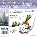 Crafters Comp. Mulberry Wood Rubber Stamp - Sledging By