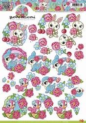 3D Knipvel Yvonne Creations CD10263 Kleurige beestjes
