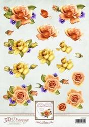 3D Knipvel Ann's Paper Art APA3D008 Orange Roses