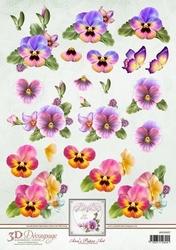 3D Knipvel Ann's Paper Art APA3D007 Pansies/viooltjes