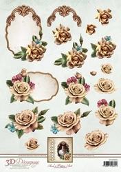 3D Knipvel Ann's Paper Art APA3D005 Champagne Rose