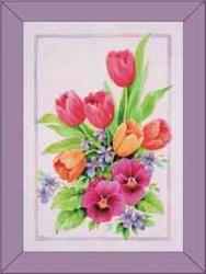Lesuh 3-D schilderij Tulpen en viooltjes