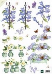 A4 Knipvel Mattie MB0096 Blauwe bloemen
