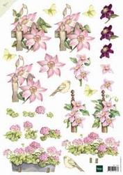 A4 Knipvel Mattie MB0097 Roze bloemen