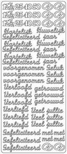Stickervel 1707 Huwelijk 12,5 - 25 - 40 en 50 Jarig jubileum