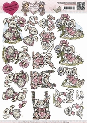 3D Knipvel Yvonne Creations CD10444 Love Collection - Bunny