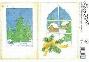 Deco Draw Borduurkaart DD003 Kerst Raam