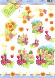 3D Knipvel Senna E0048 Wijn/druiven/zonnebloem