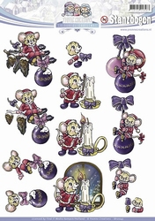 3D Push Out Yvonne Creations SB10043 Christmas Mice