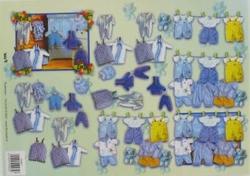 A4 Knipvel TBZ 504903 Baby/geboorte kleertjes blauw
