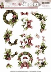 3D Stansvel Precious Marieke SB10046 Charming Xmas Wreaths