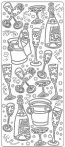 Stickervel 2092 Champagne/feest/drank/fles/glas