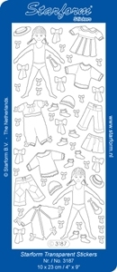 Stickervel Starform Transparant 3187 meisjes met kleedjes