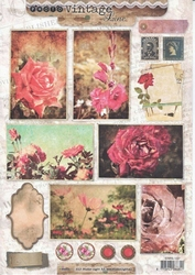 A4 Knipvel Studio Light Vintage Line SL1237 Photo's bloemen