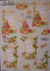 A4 Kerstknipvel Le Suh 8215206 Muziekvel met viool/trompet