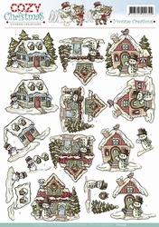 3D Knipvel Yvonne Creations CD10549 Cozy Christmas House