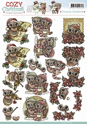 3D Knipvel Yvonne Creations CD10546 Cozy Christmas Xmas Owls