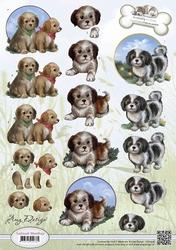 3D Knipvel Amy Design CD10536 Animal Medley Puppies