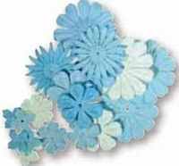 Rayher Papier bloemen mengeling 5608 Blauwtinten