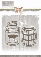 Precious Marieke Die Rustic Christmas PM10042 Milk Churn and