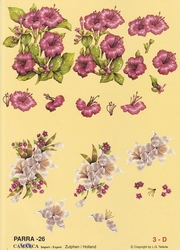 A4 Knipvel Parra 26 Roze bloem en lelie
