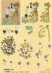 A4 Knipvel Parra 23 Kraanvogels en wit boeket