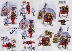A4 Knipvel Le Suh Winter 8215123 meisje/sneeuwman/paard/slee