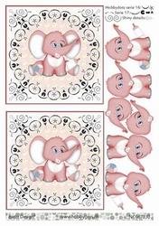 A4 DOTS Knipvel Barto Design 67330 Baby olifantje roze