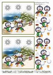 A4 DOTS Knipvel Barto Design 67359 Winter pinguin id sneeuw