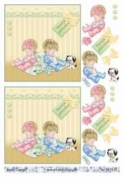 A4 Knipvel Barto Design 67333 Baby roze en blauw