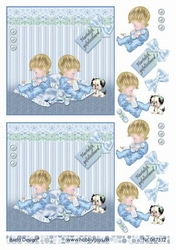 A4 Knipvel Barto Design 67332 Tweeling baby blauw