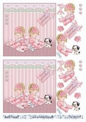 A4 Knipvel Barto Design 67331 Tweeling baby roze