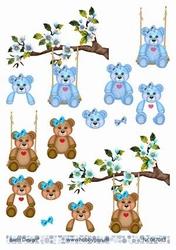 A4 Knipvel Barto Design 67083 Geboorte/baby/beertje blauw