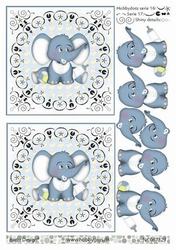 A4 DOTS Knipvel Barto Design 67329 Baby olifantje blauw