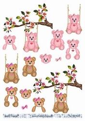 A4 Knipvel Barto Design 67082 Geboorte/baby/beertje roze