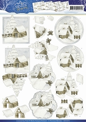 3D Knipvel Precious Marieke CD10576 Winter Wonder Snow cabin