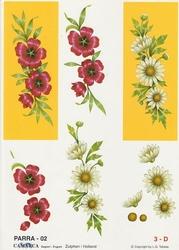 A4 Knipvel Parra 02 Rode bloem en margriet in geel kader