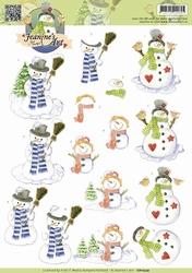 3D Knipvel Jeanines Art CD10579 Snowmen/sneeuwman
