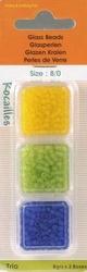 Rocailles glas parels transparant mat 3603 geel/lime/blauw